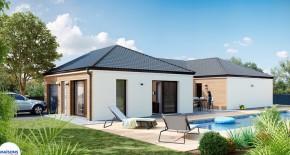 maison contemporaine et traditionnelle avec plan en U