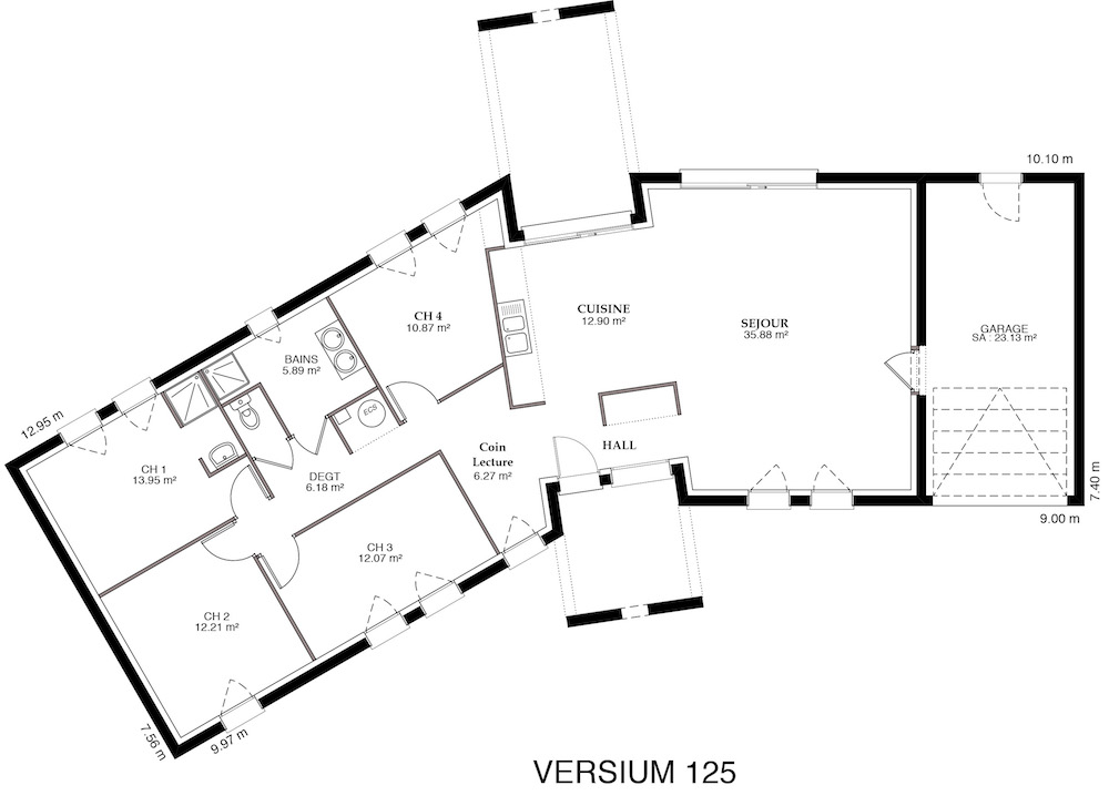 Plan maison contemporaine en v for Plan de maison contemporaine en l