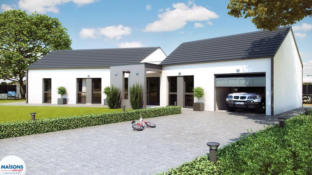maison moderne plan en V