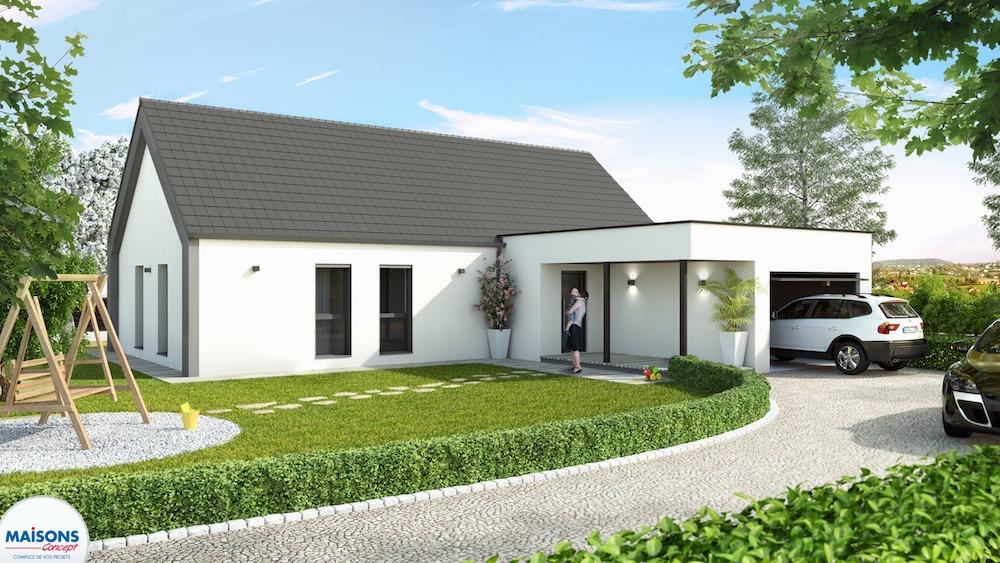 maison moderne avec garage toit plat