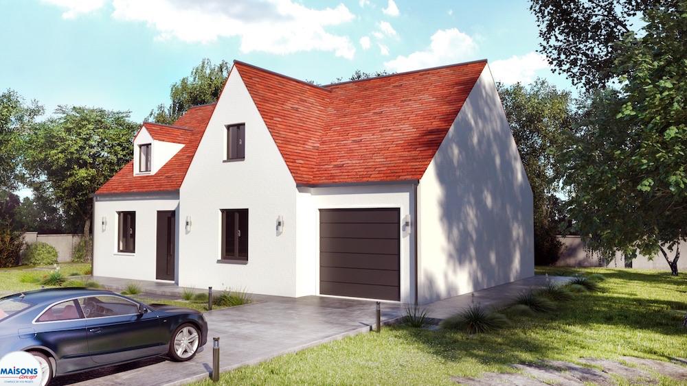 plan 3D maison avec avancée