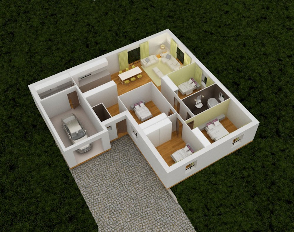 Plan 3D elegance maison en 4chambre