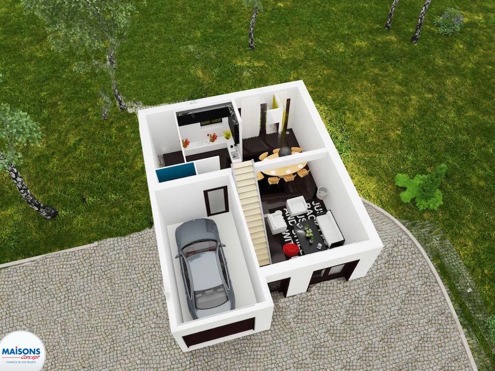 Plan 3D maison rdc city 68