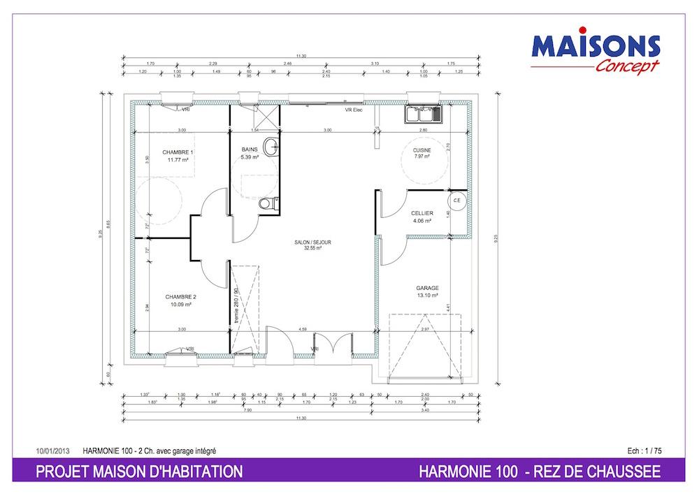 Plan Maison  HARMONIE 100 - RT 2012