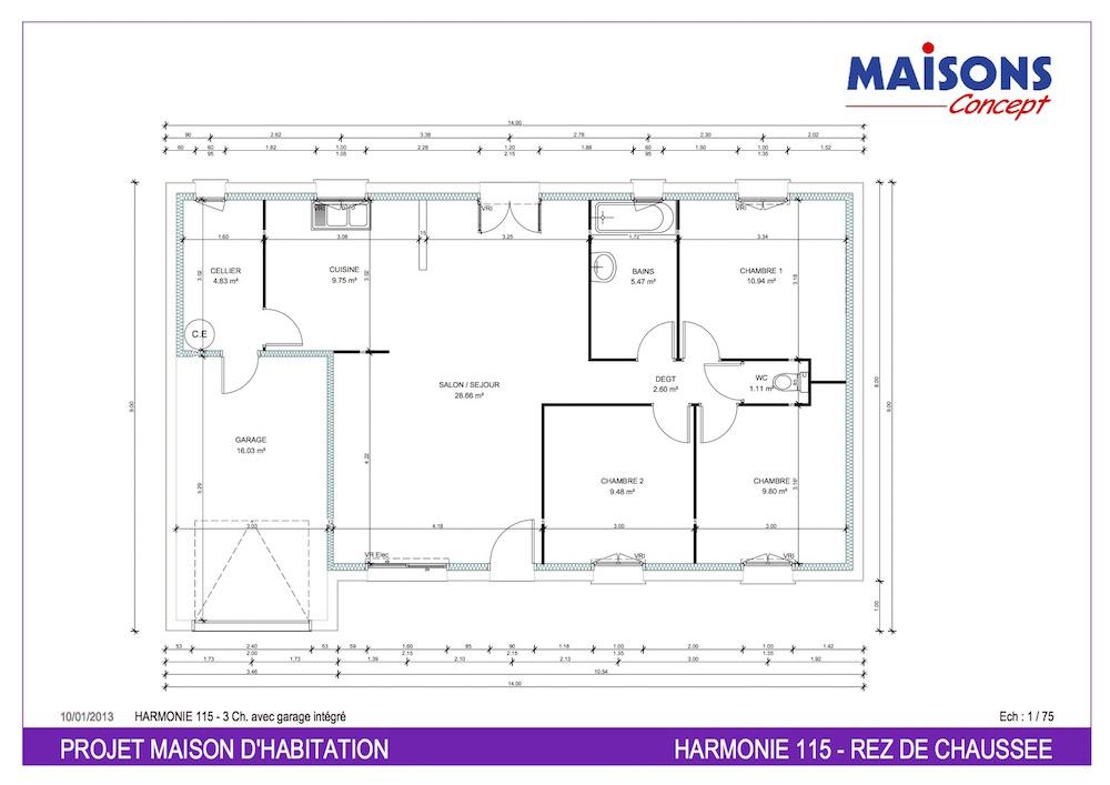 Plan Maison  HARMONIE 115 - RT 2012