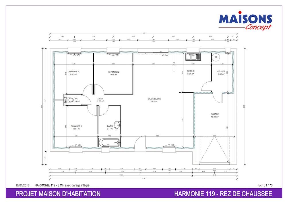 Plan Maison  HARMONIE 119 - RT 2012