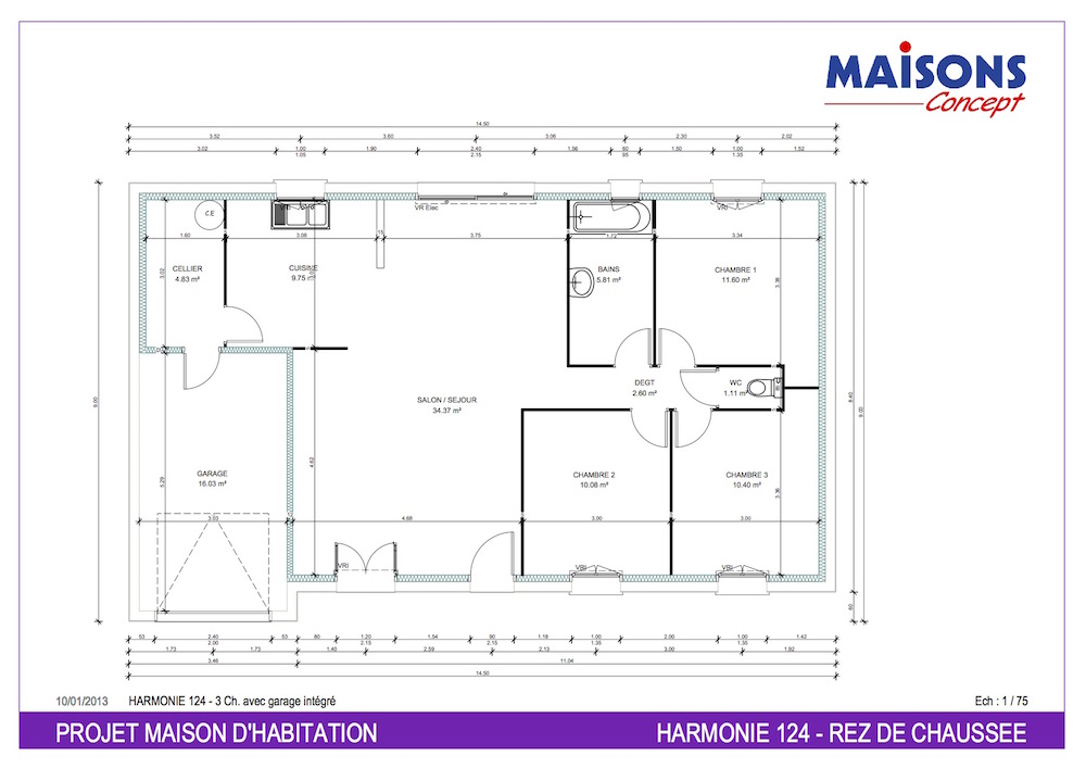 Plan Maison  HARMONIE 124 - RT 2012