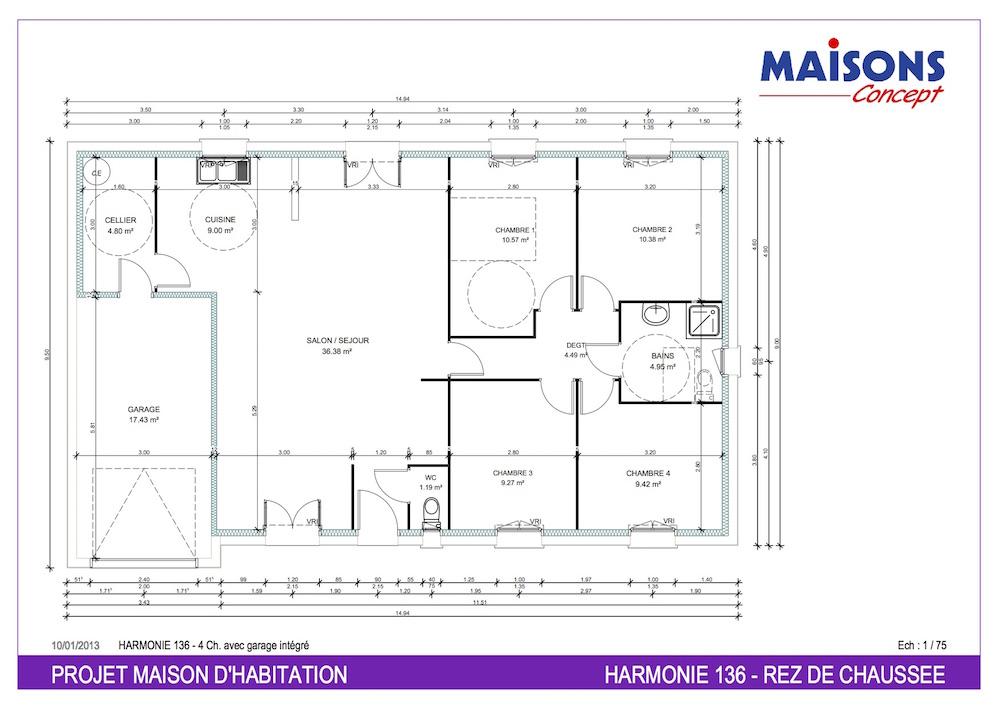Plan Maison  HARMONIE 136 - RT 2012