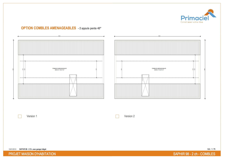 Plan Saphir primaciel maison petit prix 2 chambres combles