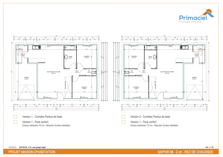 Plan Saphir primaciel maison petit prix 2 chambres