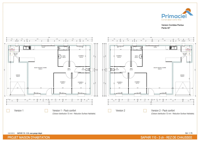 Plan Saphir primaciel maison petit prix 3 chambres