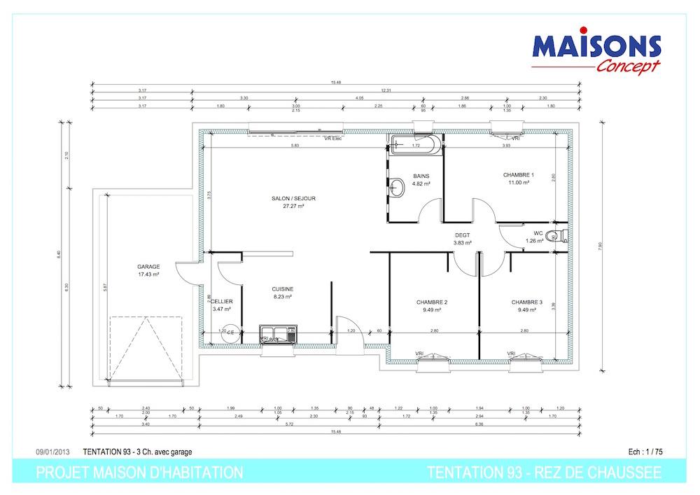 Plan TENTATION 93 - RT 2012 rdc