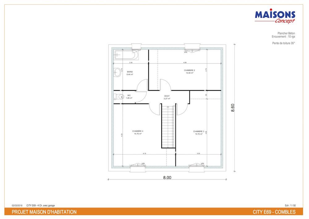 Plan etage maison moderne tentation city