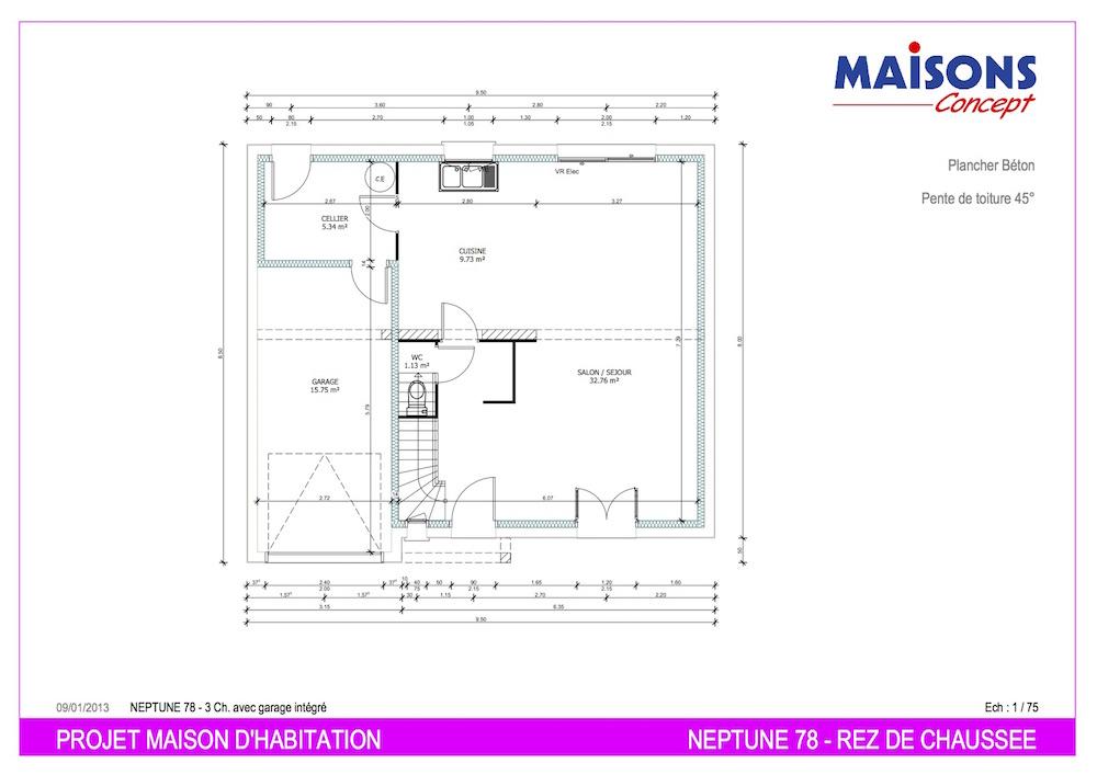Plan maison neptune 78 m22
