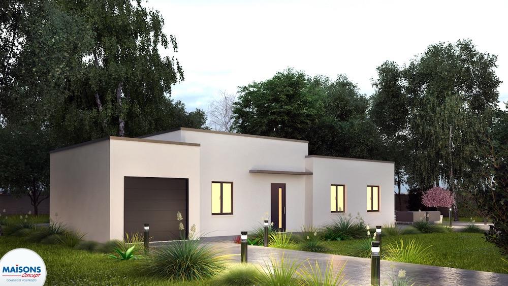 Tentation cosy maison moderne plain pied for Maison basse moderne