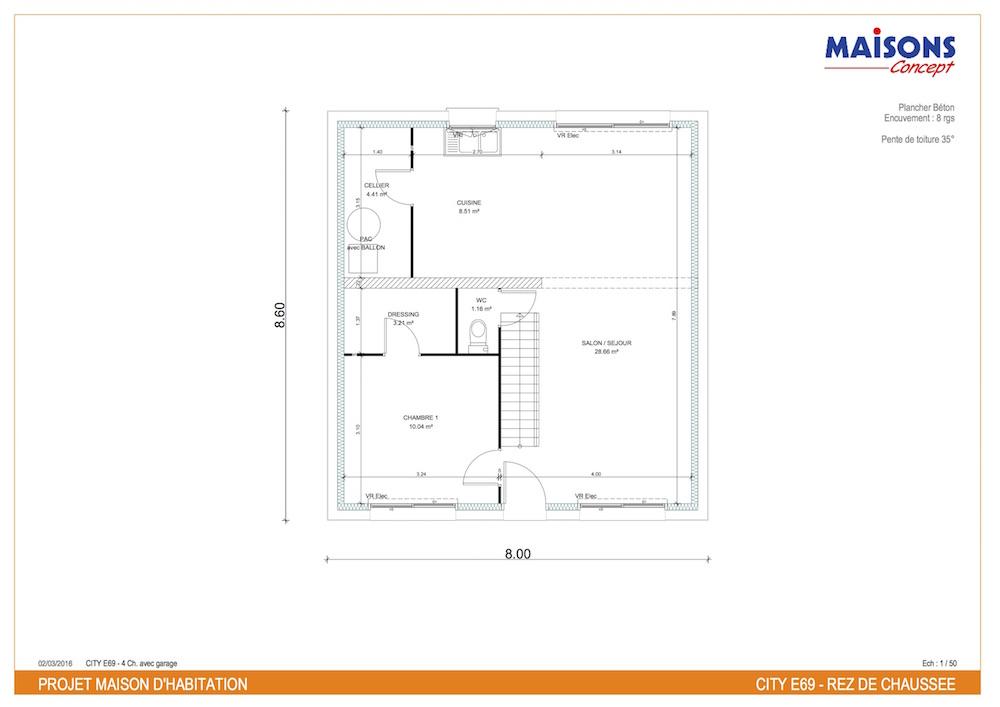 Plan maison moderne tentation City