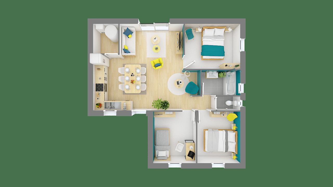 Maison Low cost modele Emeraude plan 3D 1