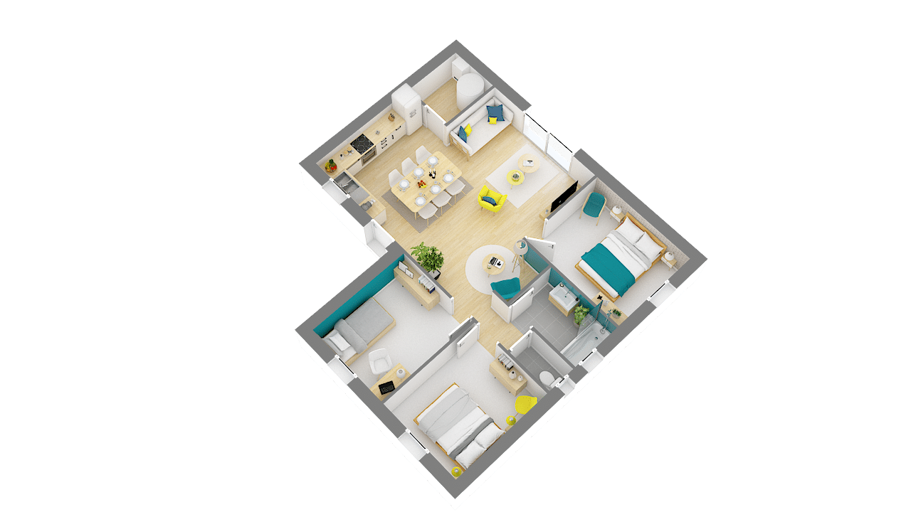 Maison Low cost modele Emeraude plan 3D 2