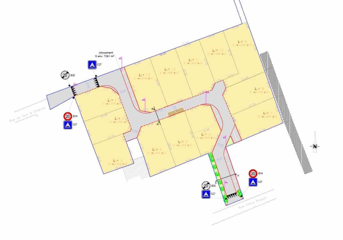 Plan du lotissement de la ville de Laigné-en-Belin