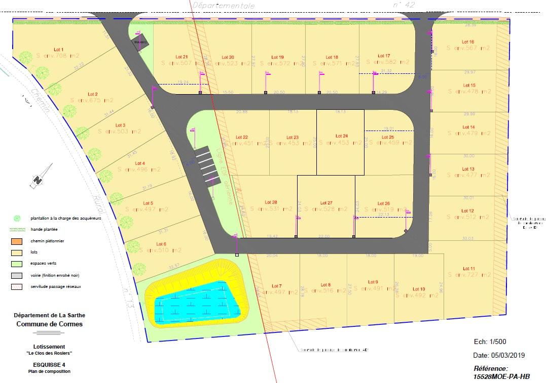 Plan lotissement Cormes maisons concept