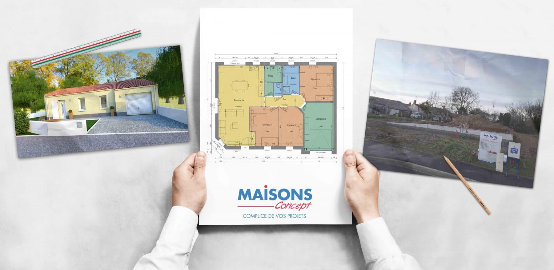 Photo et plan chantier à Froidfond Maisons Concept